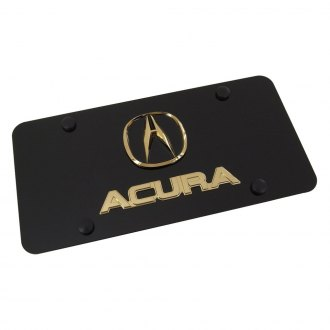 Autogold® - Gold Acura Dual Logo on Black License Plate