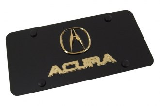 Autogold® - 3D Gold Acura Dual Logo on Black License Plate