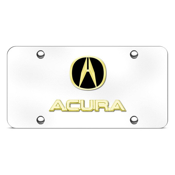 Autogold® - 3D Gold Acura Dual Logo on Chrome License Plate