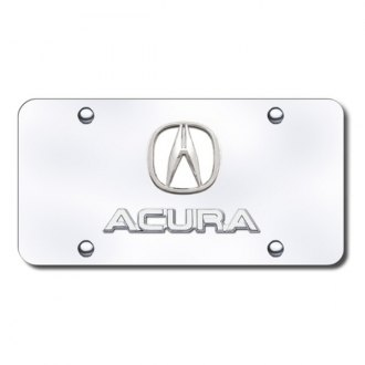 Autogold® - Chrome License Plate with Chrome Acura Logo and Emblem