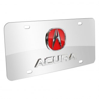 Autogold® - Chrome and Red Acura Dual Logo on Chrome License Plate