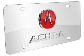 Autogold® - 3D Chrome and Red Acura Logo on Chrome License Plate