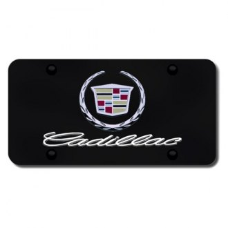 Autogold® - Cadillac New Dual Logo on Black License Plate