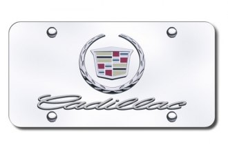 Autogold® - Cadillac New Dual Logo on Chrome License Plate