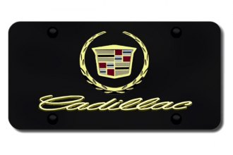 Autogold® - 3D Gold Cadillac New Dual Logo on Black License Plate