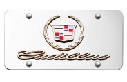Autogold® - 3D Gold Cadillac New Dual Logo on Chrome License Plate
