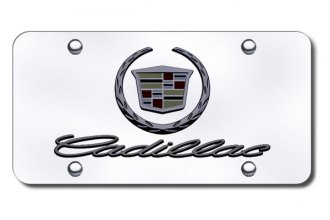 Autogold® - 3D Black Pearl Cadillac New Dual Logo on Chrome License Plate