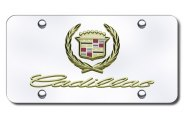 Autogold® - 3D Gold Cadillac Dual Logo on Chrome License Plate