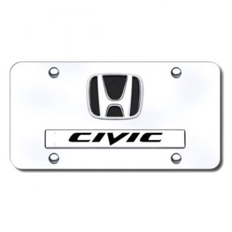 Autogold® - Civic Dual Logo on Chrome License Plate