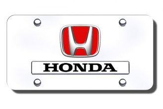 Autogold® - Dual Honda Red Fill Logo on Chrome License Plate