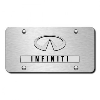 Autogold® - Dual Infiniti Logo on Brushed Stainless Steel License Plate