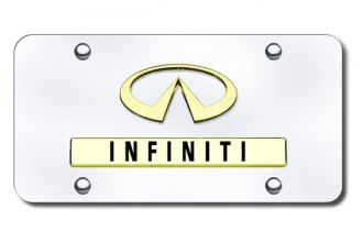Autogold® - 3D Gold Infiniti Dual Logo on Chrome License Plate