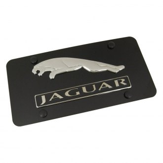 Autogold® - Jaguar Dual Logo on Black License Plate