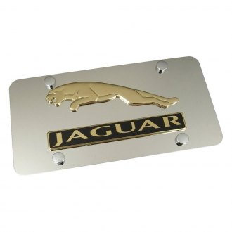 Autogold® - Gold Jaguar Dual Logo on Chrome License Plate