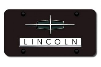 Autogold® - Lincoln Chrome Dual Logo on Black License Plate