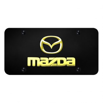 Autogold® - 3D Gold Mazda Dual Logo on Black License Plate