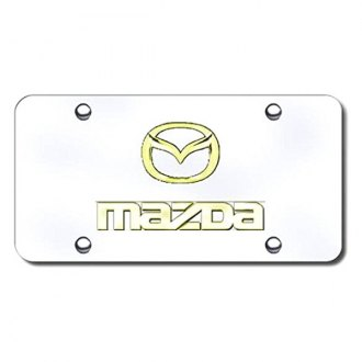 Autogold® - 3D Gold Mazda Dual Logo on Chrome License Plate