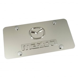 Autogold® - Mazda Old Dual Logo on Chrome License Plate