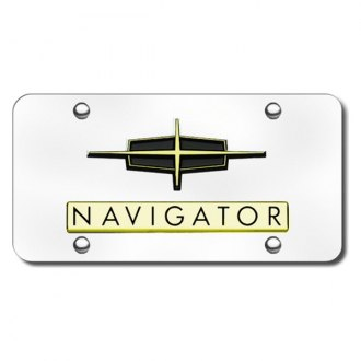 Autogold® - 3D Gold Navigator Logo on Chrome License Plate
