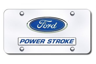 Autogold® - Dual Powerstroke Logo on Chrome License Plate