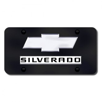 Autogold® - Dual Silverado Logo on Black License Plate
