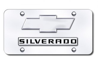 Autogold® - Silverado Logo on Chrome License Plate