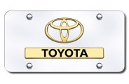 AutoGold� - 3D Gold Toyota Logo on Chrome License Plate