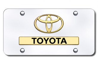 Autogold® - Dual 3D Gold Toyota Logo on Chrome License Plate
