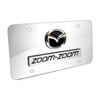 Autogold® - Dual Zoom Zoom Logo on Chrome License Plate