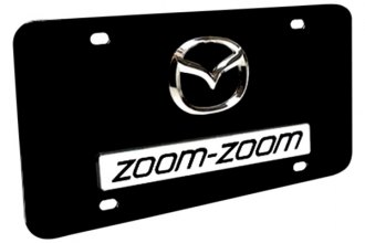 Autogold® - Dual Zoom Zoom Logo on Black License Plate
