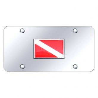 Autogold® - Chrome License Plate with Dive Flag on Logo