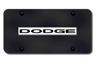 Autogold® - Dodge Name Logo on Black License Plate