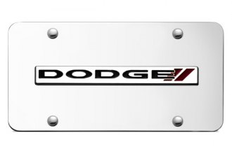 Autogold® - Dodge Stripes Logo on Chrome License Plate