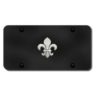 Autogold® - 3D Chrome Fleur-De-Lis Logo on Black License Plate