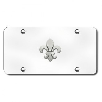 Autogold® - 3D Chrome Fleur-De-Lis Logo on Chrome License Plate