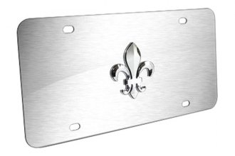 Autogold® - Fleur-De-Lis Logo on Brushed Stainless License Plate