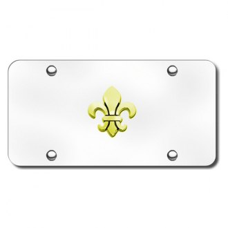 Autogold® - 3D Gold Fleur-De-Lis Logo on Chrome License Plate