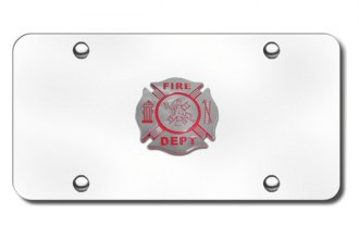 Autogold® - Fire Department Logo on Chrome License Plate