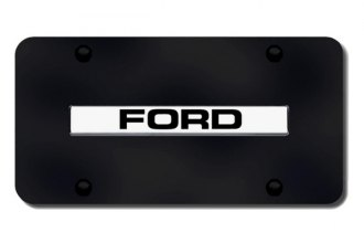 Autogold® - 3D Chrome Ford Logo on Black License Plate