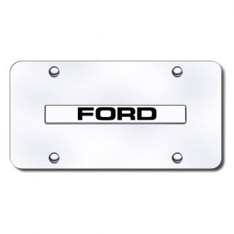 Autogold® - Chrome License Plate with Chrome Ford Logo