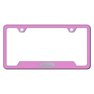 Autogold® - Pink License Plate Frame with Laser Etched Ford Only Logo and Cut-Outs