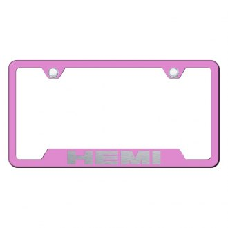 Autogold® - Hemi Laser Etched Logo on Pink License Frame with Cut-Outs
