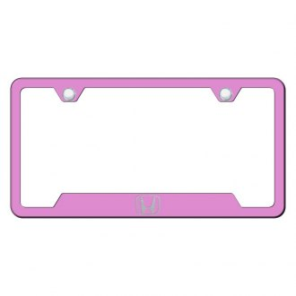 Autogold® - Pink License Plate Frame with Laser Etched Honda Only Logo and Cut-Outs