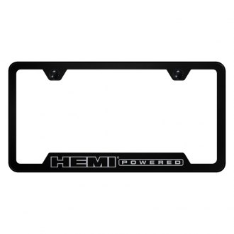 Autogold® - Hemi Powered Laser Etched Logo on Black License Frame with Cut-Outs