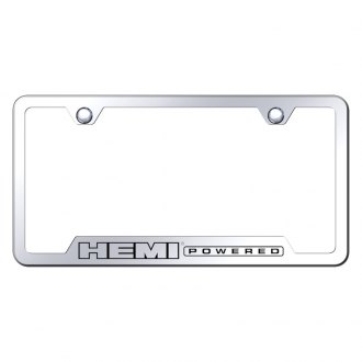 Autogold® - Hemi Powered Laser Etched Logo on Stainless Steel License Frame with Cut-Outs