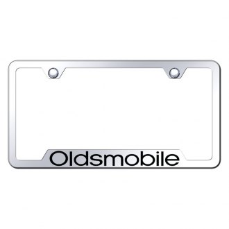 Autogold® - Oldsmobile Laser Etched Logo on Chrome License Frame with Cut-Outs