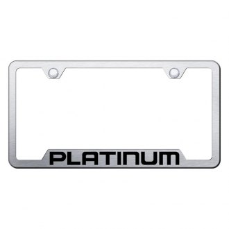 Autogold® - Platinum Laser Etched Logo on Brushed Stainless License Frame with Cut-Outs