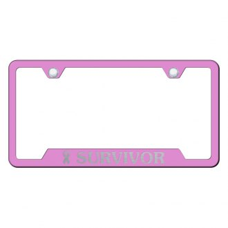 Autogold® - Pink License Plate Frame with Laser Etched Survivor Logo and Cut-Outs