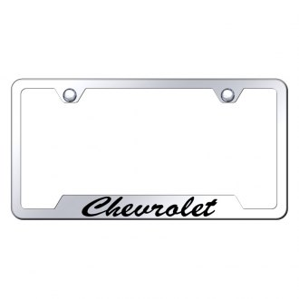 Autogold® - Chrome License Plate Frame with Script Laser Etched Chevrolet Logo and Cut-Outs