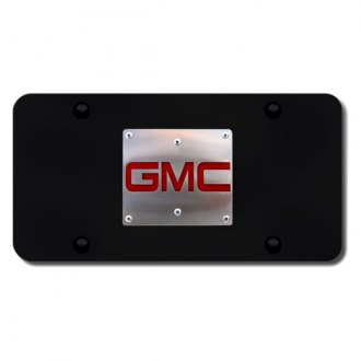 Autogold® - 3D GMC Brushed Stainless Logo on Black License Plate